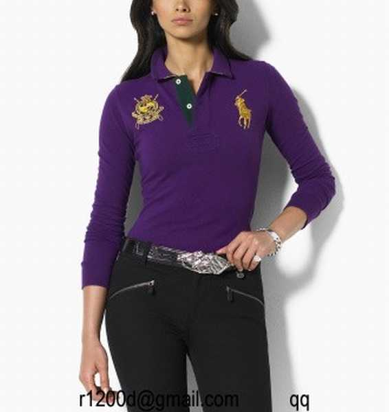 Polo Ralph polo Femme Lauren Courtes Blanc Manches Soldes yvYgb7f6